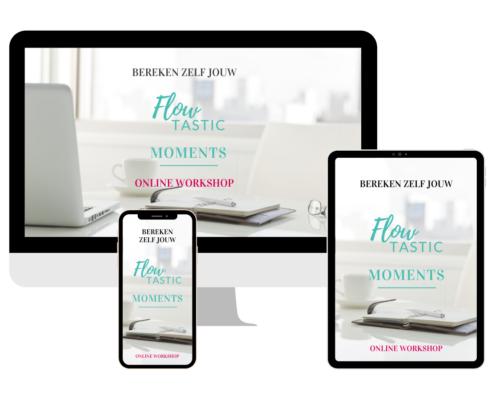 Flowtastic Moments webpagina op schermen